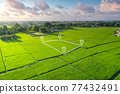 Land plot in aerial view for development or investment. 77432491