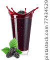 glass of blackberry smoothie isolated on white 77434529
