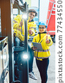 Forklift driver and forewoman discussing where to store delivery 77434550