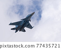 MOSCOW, RUSSIA - MAY 7, 2021: Avia parade in Moscow. jet fighter aircraft Su-30 in the sky on parade of Victory in World War II in Moscow, Russia 77435721
