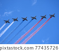 MOSCOW, RUSSIA - MAY 7, 2021: Avia parade in Moscow. Group of Russian fighters Sukhoi Su-25 with painted russian flag in the sky on parade of Victory in World War II in Moscow, Russia 77435726
