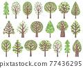 綠樹圖標插圖集 77436295