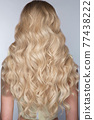 A closeup view of a bunch of shiny curls blond hair 77438222