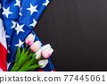 Happy Memorial Day, American flag and a Tulip flower 77445061