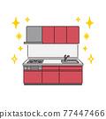 廚房 煤氣爐 矢量 77447466