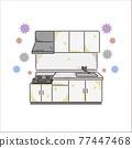 廚房 煤氣爐 矢量 77447468