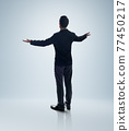 Rear view angle of Businessman standing and lift up the hands 77450217
