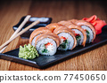 Sushi on a Wooden Table in Restaurant, Delicious Japanese Food, Sushi Rolls 77450650