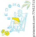 崇拜-坐在沙灘椅上,用一種簡單的顏色工作的人的形象 77452713