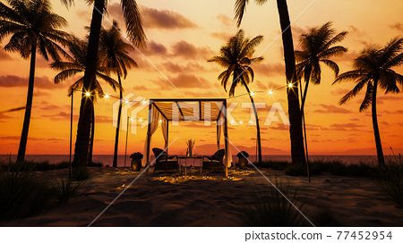 Table under canopy on the beach. Silhouette of beach cafe. Romantic dinner on the beach. Romantic sunset on the beach under palm trees. 3d render 77452954