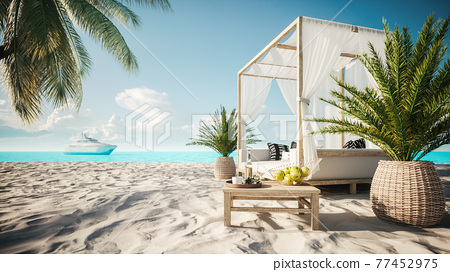 Comfortable lounge canopy on VIP beach seascape. Tropical beach scene with white canopy and curtain. View from beach canopy. 3d illustration 77452975
