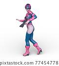 一個女人拿著槍 77454778