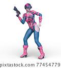 一個女人拿著槍 77454779