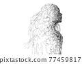 女人的輪廓的線描 77459817