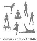 瑜伽 瑜珈 剪影 77463687