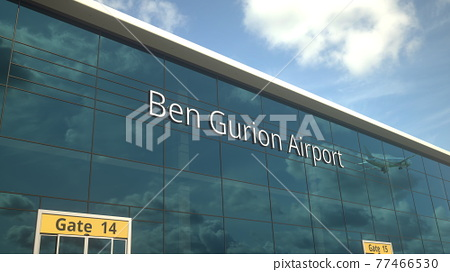 Taking off airplane reflecting in the modern windows with Ben Gurion Airport text, 3d rendering 77466530