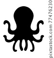 章魚 剪影 矢量 77476230