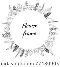 植物的框架圖。邀請和卡片模板(白色背景,向量,作物) 77480905