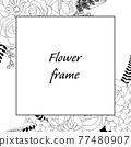 植物的框架圖。邀請和卡片模板(白色背景,向量,作物) 77480907