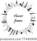 植物的框架圖。邀請和卡片模板(白色背景,向量,作物) 77480908