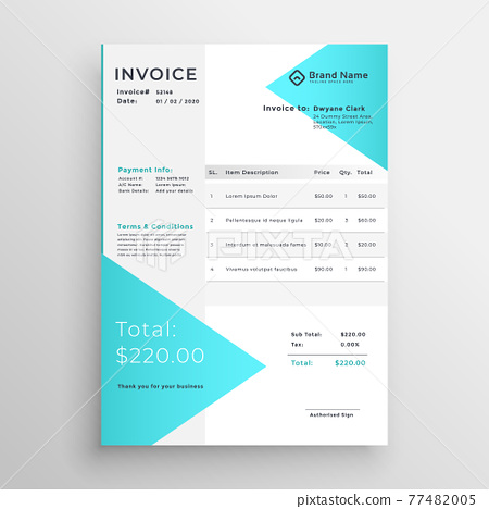 creative light blue invoice template design 77482005