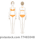 Full-body illustration of a woman in a swimsuit, front and back 01 77483048