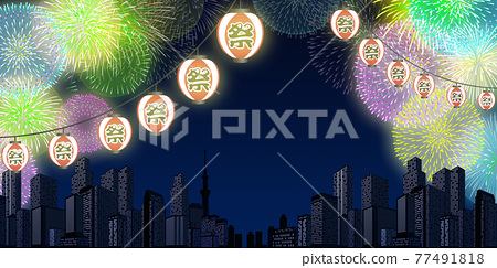 Fireworks display cityscape background material 77491818