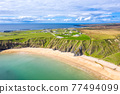 Aerial view of the Silver Strand in County Donegal - Ireland 77494099