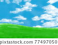 水彩畫 天空 藍天 77497050