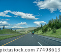 Four lane highway one on bright summer day 77498613