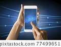 Close-up Of Business man's hand holding smartphone showing stock market statistics gain profits and increase of chart positive indicators. Financial analysis, statistics. Concept of business strategy. 77499651