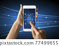 Close-up Of Business man's hand holding smartphone showing stock market statistics gain profits and increase of chart positive indicators. Financial analysis, statistics. Concept of business strategy. 77499655