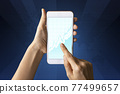 Close-up Of Business man's hand holding smartphone showing stock market statistics gain profits and increase of chart positive indicators. Financial analysis, statistics. Concept of business strategy. 77499657
