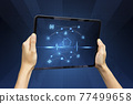 Close-up Of Business man's hand holding tablet showing stock market statistics gain profits and increase of chart positive indicators. Financial analysis, statistics. Concept of business strategy. 77499658