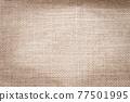 Jute hessian sackcloth woven burlap texture pattern background in old aged yellow beige cream gold brown color 77501995