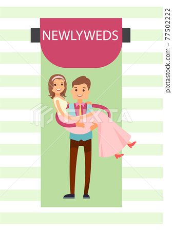 Newlyweds Bride and Groom Vector Illustration 77502222