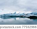 Icebergs on water, Jokulsarlon glacial lake, Iceland 77502966