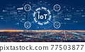 IoT theme with downtown Los Angeles 77503877