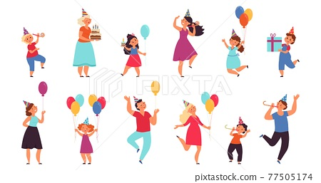 Kids birthday characters. Fun children, holiday cake and cartoon funny people. Isolated celebrating party with friends decent vector persons set 77505174