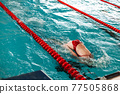 competitive swimming in the pool during training 77505868
