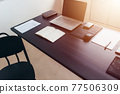 Remote work, empty workspace. Working from home 77506309