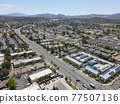 Aerial view of the suburb city of Lakeside, San Diego, USA 77507136