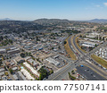Aerial view of the suburb city of Lakeside, San Diego, USA 77507141