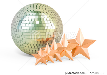 Mirror disco ball with five golden stars, 3D rendering 77508309