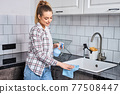 Side View Portrait Of Nice Pleasant Caucasian Woman, Removing Dirt From Table And Sink 77508447