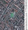 Soccerfield Football Field in Urban City Residential Neighborhood of Berlin, Germany, Aerial Birds Eye Overhead Top Down View 77508465