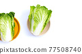 Chinese cabbage on white background. Copy space 77508740