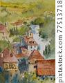 法國南部的一個小村莊,水彩山水畫 77513718