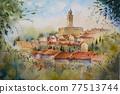 歐洲小村莊,水彩畫,山水畫 77513744