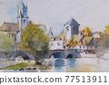 法國Moreloin城堡的水彩山水畫 77513911